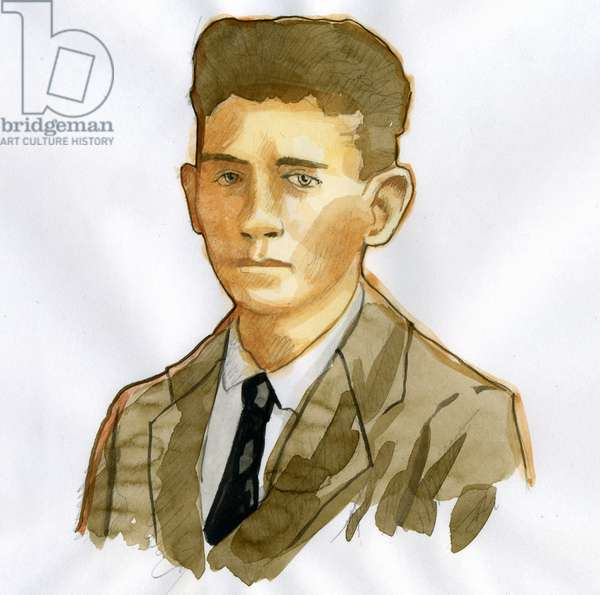 Portrait of the Pragish writer Franz Kafka (1883-1924) (Portrait of German-language writer of novels Franz Kafka)