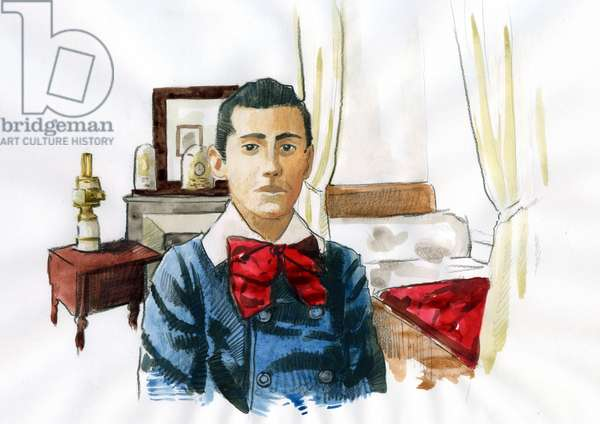 Portrait of the French writer Marcel Proust (1871-1922) young in the room of his aunt Elisabeth, who inspired the character of Aunt Leonie and her madeleine quenched in the room around 1879 (Portrait of french writer Marcel Proust in the room of his aunt Leonie, 1879 ca)