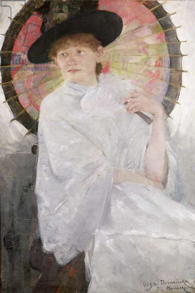 Portrait of a Lady with a Japanese Parasol (oil on canvas)