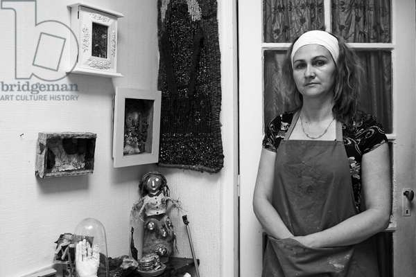 Portrait of Patricia Berquin, French artist, in her studio in Montreuil sous Bois in 2007.