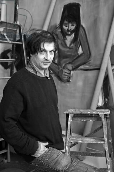 Portrait of Damien Cabanes, French painter and sculptor, in his studio in Paris in 2009.