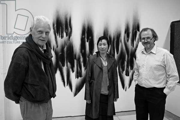 Christian Jaccard, French artist, Cori Shim, Coreenne cineaste, and Jean-Pierre Tafani (Jean Pierre). Chez Jean-Pierre Tafani at Maisons Alfort on June 2, 2007.