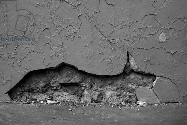 Time marks. Abstract art showing forms as a witness of passing time. Here, wall breaks Michel Lunardelli's Photography.