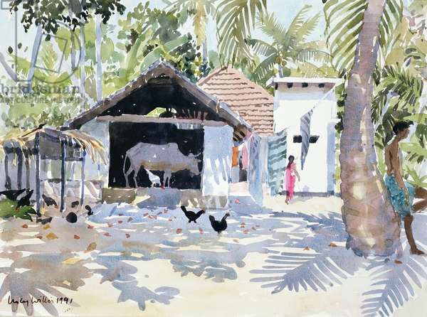 The Backwaters, Kerala, India, 1991 (w/c on paper)