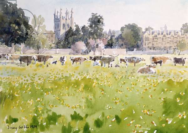 Looking Across Christ Church Meadows, 1989 (w/c on paper)