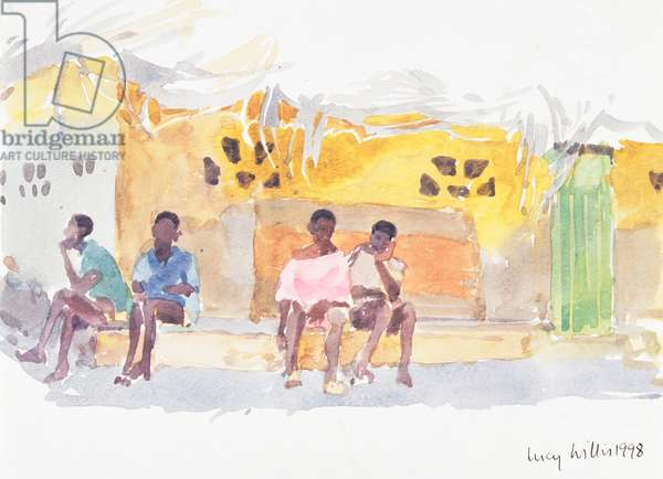 Children Waiting, 1998 (w/c on paper)