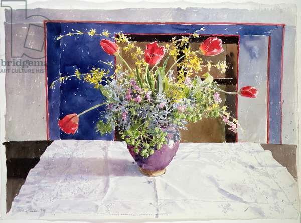 Spring Flowers in a Vase, 1988 (w/c on paper)