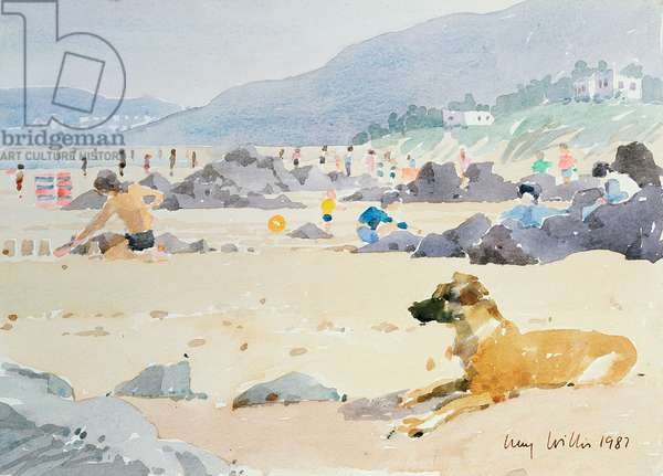 Dog on the Beach, Woolacombe, 1987 (w/c on paper)