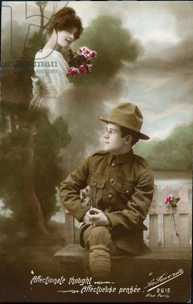 "Premiere guerre mondiale - guerre 14-18 (1914-1918) - World War I (WWI or WW1) : France, Carte patriotique montrant un americain pensant a sa fiancee """"affectionate though""""affectueuse pensee, 1917, demandez partout mecano brillant pour metaux et cordon bleu noir pour fourneaux"