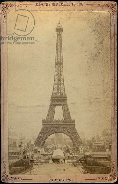 France, Ile-de-France, Paris (75): Universal Exhibition, the Eiffel Tower in front of the disabled, 1889
