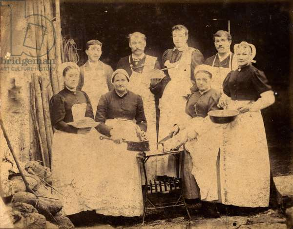 France, Pays de la Loire, Sarthe (72): Industrial charcuterie with its employees presenting cold cuts dishes, 1890