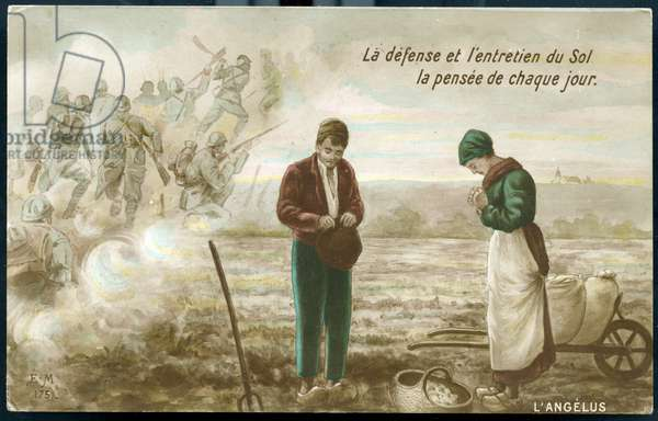 First World War - War 14-18 (1914-1918) - World War I (WWI or WW1): France, Postcard representing a reproduction of Millet's Angelus with the peasant couple thinking of the soldiers of the front,: defense and maintenance of the ground, the thought of every day, 1917
