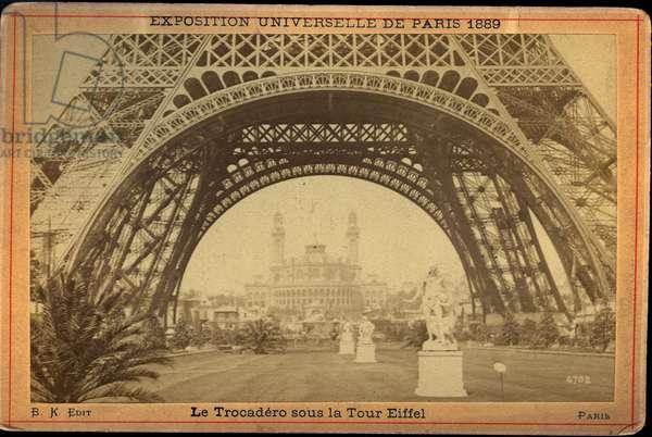 France, Ile-de-France, Paris (75): World Exhibition, the Trocadero under the Eiffel Tower, 1889