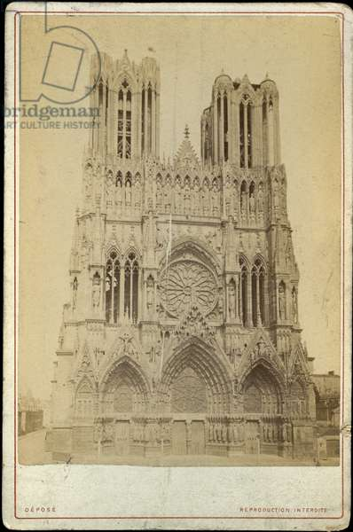 France, Champagne-Ardenne, Marne (51), Reims: Cathedrale de Reims, 1875