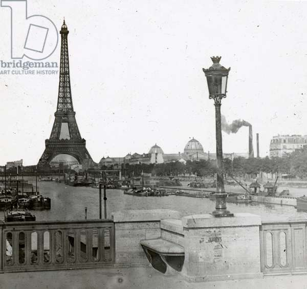 France, Ile-de-France, Paris (75): The Eiffel Tower and the Palace of the Universal Exhibition View from a Bridge, 1890