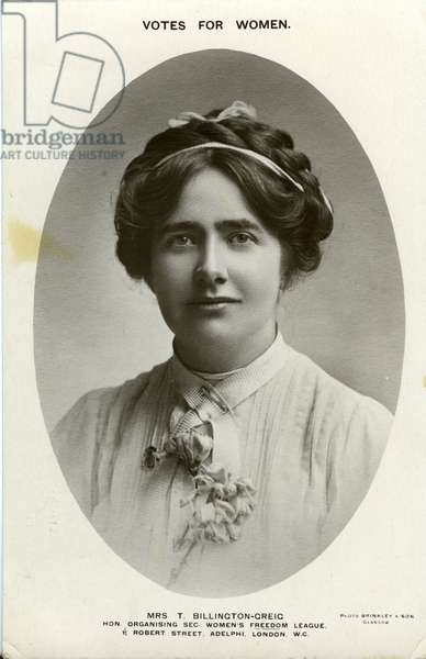 United Kingdom: Portrait of Mrs T. Billington- Greig - Teresa Billington Greig (1877-1964), 1909 - Votes for women