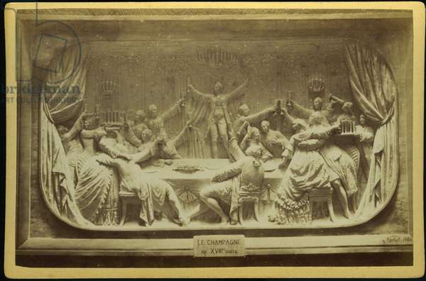 France, Champagne-Ardenne, Marne (51), Epernay: Un bas relief by Gustave Navlet (1832-1915) represents a feast with champagne in the 8th century, 1883