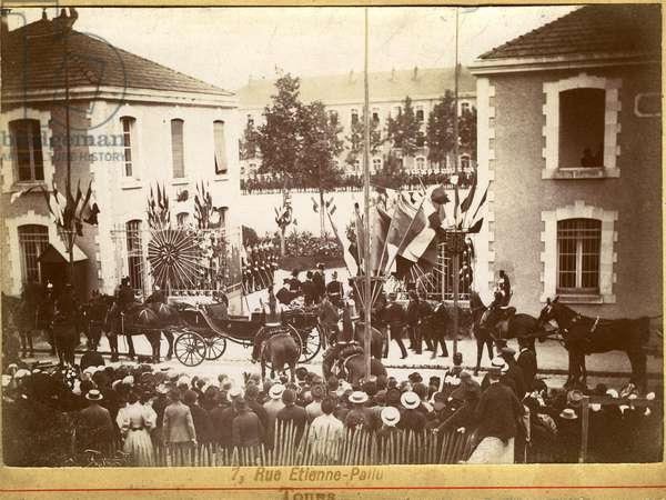 France, Centre, Indre-et-Loire (37), Tours: visit of Felix Faure to the Barbuda barracks of Hilliers, 1895