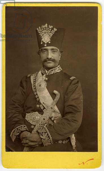 Celebre photograph of the Shah of Iran (Persia) with decoration, 1880