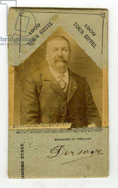 France, Photograph of Monsieur F. Dersoir for an entrance card to the Eiffel Tower 3rd floor, 1909