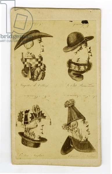 France, Photographic business card showing a trompe l'oeil of Trombine and Binette of 4 characters, 1863