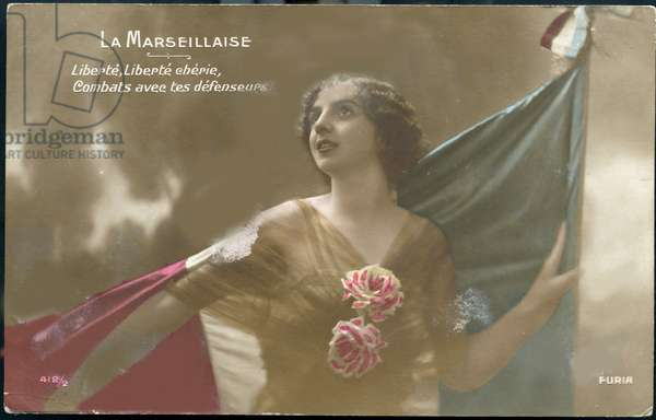 First World War - War 14-18 (1914-1918) - World War I (WWI or WW1): France, Patriotic Map showing a young woman with the French flag singing the Marseillaise, titled 'La Marseillaise', 1915