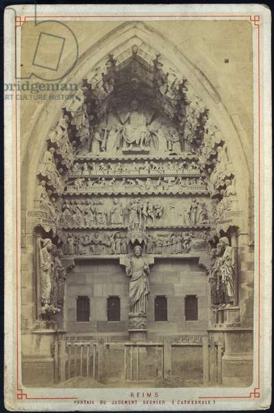France, Champagne-Ardenne, Marne (51), Reims: Cathedrale, the portal of last judgment, 1880