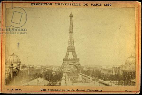 France, Ile-de-France, Paris (75): Universal exhibition, general view taken from the dome of honor with the Eiffel Tower in the foreground, 1889