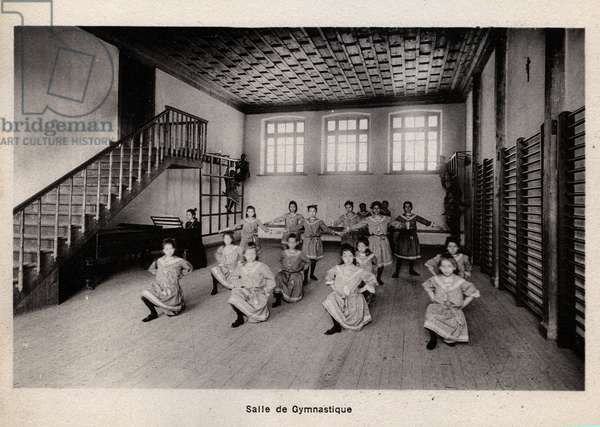 Constantinople, Turkey, Boardroom Notre Dame de Sion: the gymnastic hall with girls in full exercise, 1890 - Lycee Notre-Dame de Sion