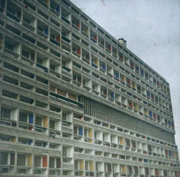 Architecture: La Cite Radieuse de Le Corbusier, 1948, Marseille, France - Autochrome anonymous - Private collection