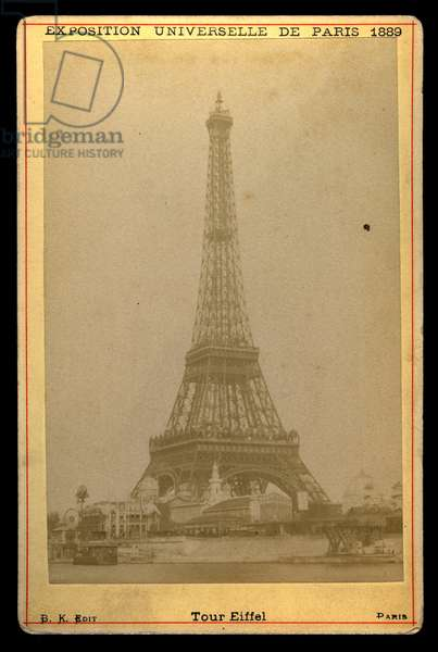 France, Ile-de-France, Paris (75): World exhibition, the Eiffel Tower seen from the Quai de Seine, 1889