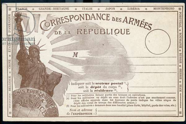 "First World War - War 14-18 (1914-1918) - World War I (WWI or WW1): France, Military Correspondence Card with the Statue of Liberty and the slogan ""Unite pour la Liberte et la Justice"""", 1917"