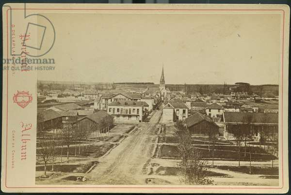 France, Champagne-Ardenne, Marne (51), Moumelon-le-Grand: A view of the village of Mourmelon, 1870 - D. delaplace photographer at the camp of Chalon