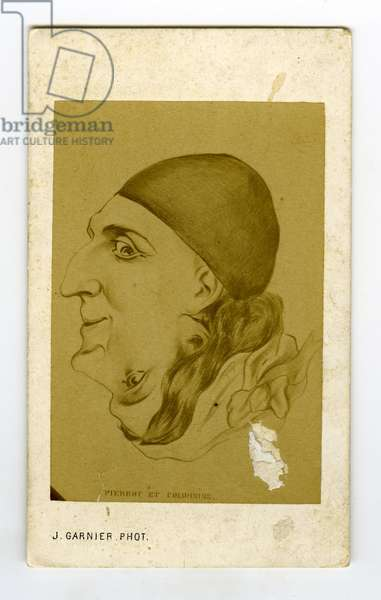 France, Photographic business card showing a trompe l'oeil de pierrot et pigombine, 1863