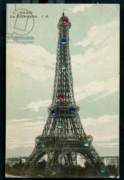 Paris, France, Map depicting the Eiffel Tower illuminated with bright multicolored, 1907