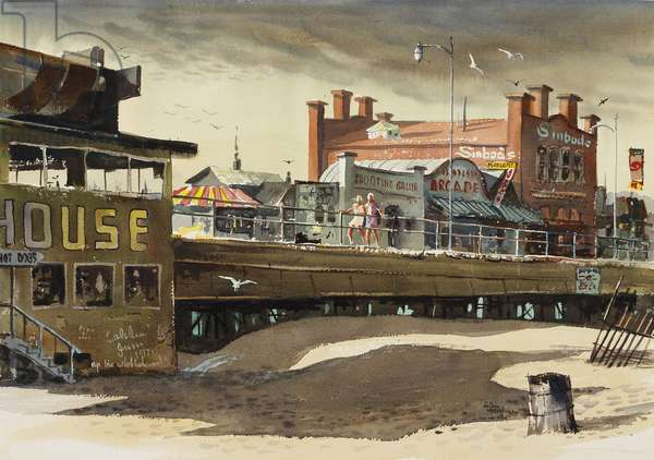 On the Pier, 1977 (w/c on paper)