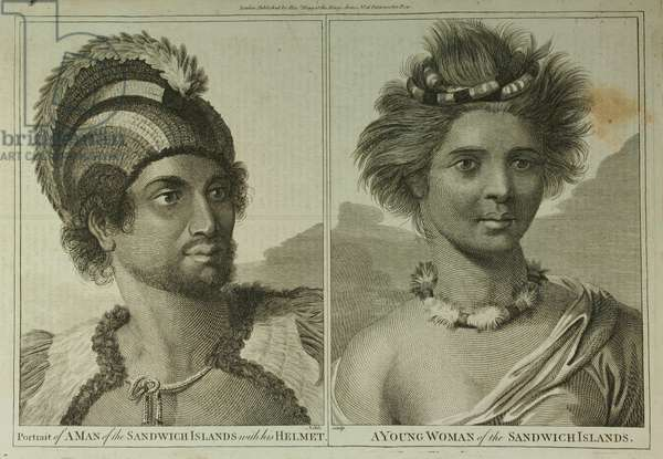 Portrait of a 'Man of the Sandwich Islands with his Helmet' and a 'Young Woman of the Sandwich Islands' (engraving)