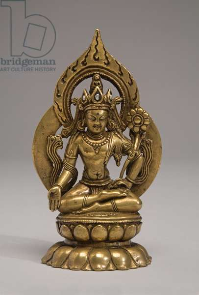 Padmapani Avalokateshvara Seated on a Lotus Throne (copper alloy & pearls)