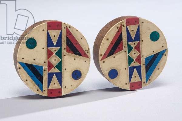 Earspools, Zulu people, late 20th century (wood, vinyl & nails)
