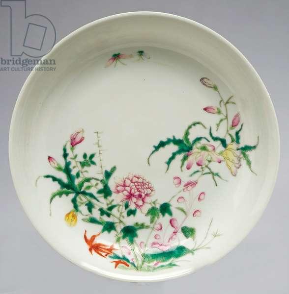 Dish with floral design, c.1912-16 (porcelain & enamel overglaze)