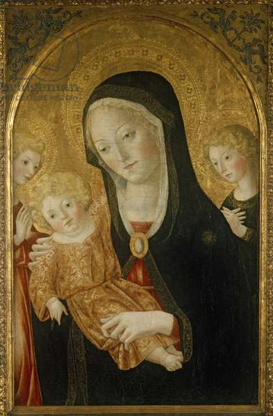 Madonna and Child with Two Angels, c.1470 (tempera on wood)