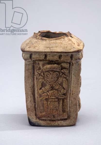 Flask, c.600-900 (ceramic & slip paint)