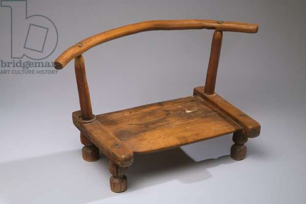 Chair [Gba], Dan or Gere people (Cote d'Ivoire and Liberia), c.1925 (wood, copper alloy & cowrie shell)