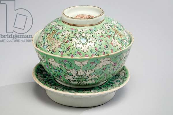 Covered bowl and stand, c.1862-74 (porcelain with enamel overglaze)