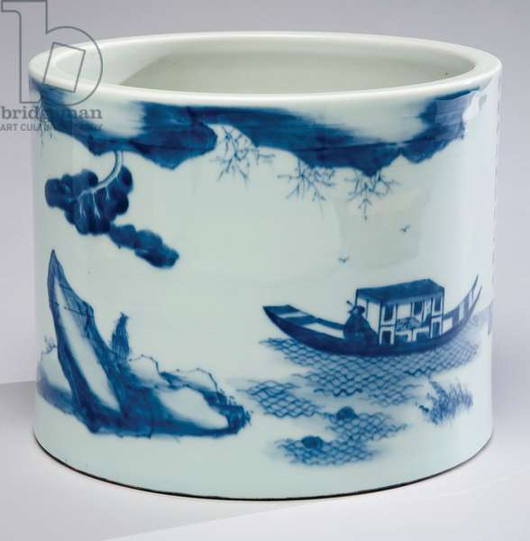 Brush pot (Bi-tong) (porcelain with cobalt blue underglaze)