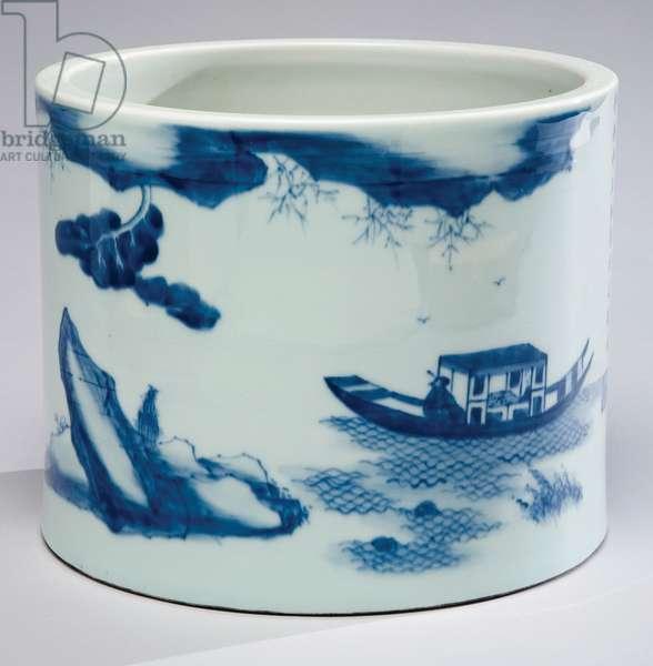 Brush pot (Bi-tong) (porcelain with cobalt blue underglaze)