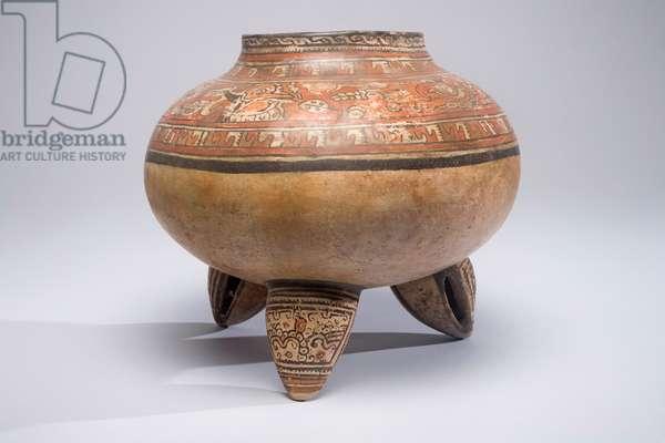 Tripod Jar, Greater Nicoya, Costa Rica, c.1000-1550 (ceramic & paint)
