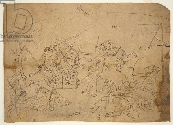 Ambika fighting the Demon Hordes of Mahatmaya, from The Devi Mahatmaya, c.1800 (ink on paper)