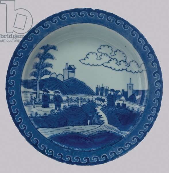 Plate, c.1730 (porcelain with cobalt blue underglaze)
