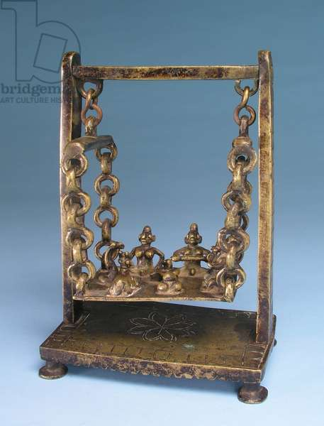 Shiva's family and female attendants on a swing (copper alloy)